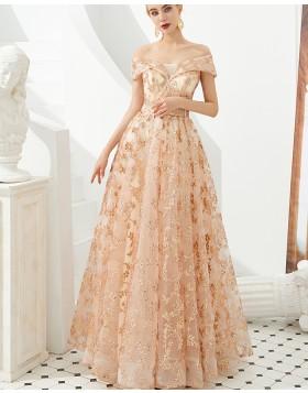 Elegant Off the Shoulder Pleated Sequin A-line Evening Dress