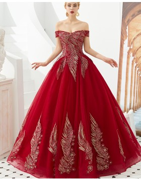Amazing Off the Shoulder Red Embroidery Beading Evening Dress