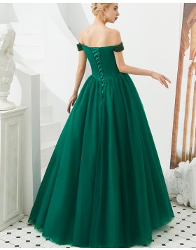 Off the Shoulder Beading Bodice Pleated Ball Gown Evening Dress