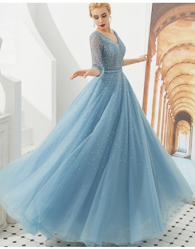 V-neck Beading Tulle Dusty Blue Evening Dress with Half Length Sleeves