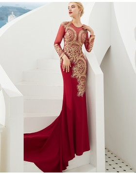 Jewel Beading Satin Mermaid Red Evening Dress with Long Sleeves
