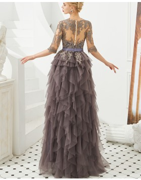 Amazing Jewel Lace Applique Brown Ruffle Evening Dress with Half Length Sleeves