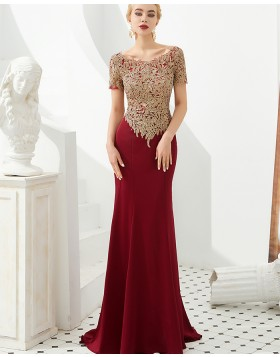 Bateau Burgundy Beading Applique Mermaid Evening Dress with Short Sleeves