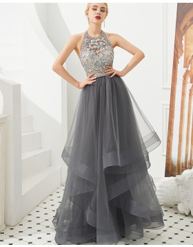 Gorgeous Halter Beading Flowers Ruffle Grey Tulle Evening Dress