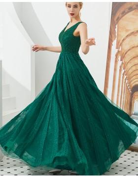 Elegant V-neck Green Beading A-line Evening Dress