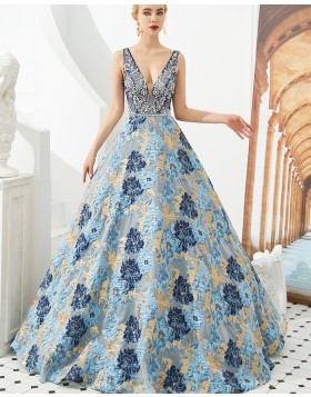 Deep V-neck Beading Bodice A-line Evening Dress with Floral Embroidery Skirt