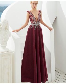 Deep V-neck Beading Bodice Dark Red Sparkle Evening Dress