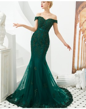 Off the Shoulder Green Beading Applique Mermaid Evening Dress