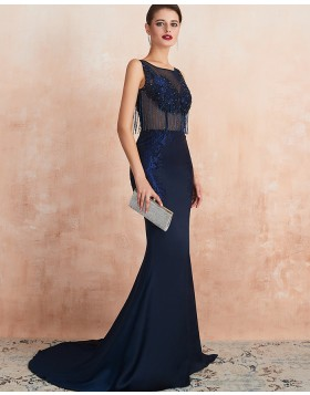 Jewel Neck Navy Blue Beading Mermaid Evening Dress QD061