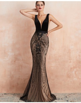 Gorgeous V-neck Black Sequin Lace Mermaid Evening Dress QD062
