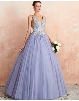 V-neck Beading Lace Bodice Lavender Pleated Evening Gown QD063