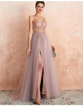 Spaghetti Straps Beading Bodice Tulle Evening Dress with Side Slit QD064
