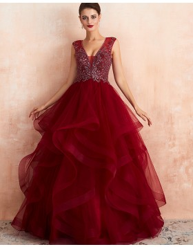Gorgeous V-neck Beading Bodice Ruffled Princess Evening Dress QD065