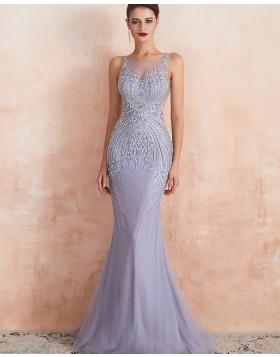 Elegant Jewel Neck Beading Mermaid Tulle Light Purple Evening Dress QD066