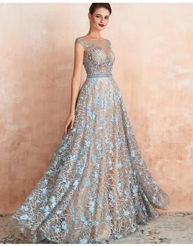 Gorgeous Jewel Neck Sequin Lace A-line Evening Dress QD067