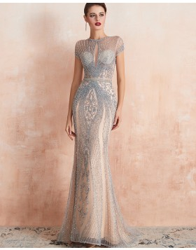Gorgeous High Neck Beading Champagne Mermaid Evening Dress with Short Sleeves QD068