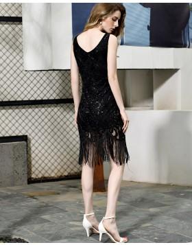 V-neck Black Bodycon Beading Lace Short Evening Dress with Tassels QD069