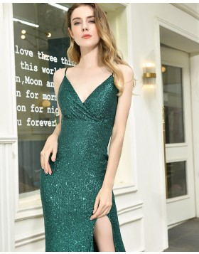 Green Spaghetti Straps Sequin Formal Dress with Side Slit QD070