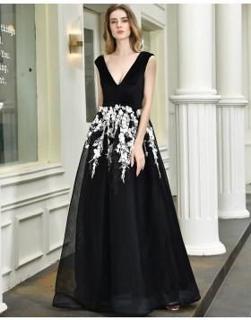 V-neck Black A-line Evening Party Dress with White Lace Applique QD071