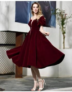Deep V-neck Burgundy Velvet Knee Length Formal Dress with Short Sleeves QD072