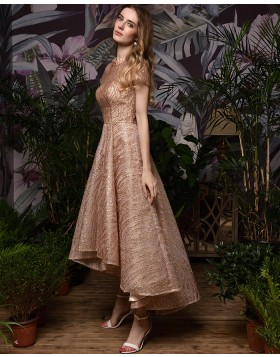 High Neck Sparkle Rose Gold High Low Evening Dress with Short Sleeves QD073