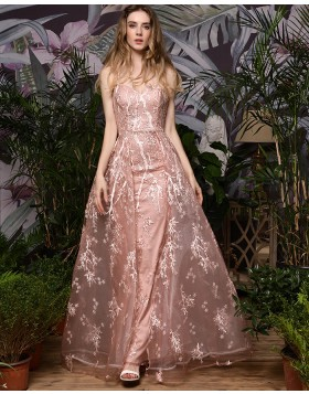 Gorgeous Spaghetti Straps Pink Lace Evening Dress QD074