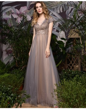 V-neck Beading Bodice Champagne Tulle Evening Dress with Short Sleeves QD075
