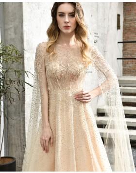 Jewel Elegant Champagne Beading A-line Evening Dress QD076