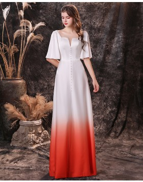 Square Neckline Beading Ombre Chiffon Evening Dress with Short Sleeves QD18454