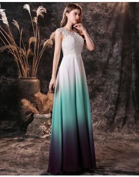 Scoop Lace Bodice Ombre Chiffon Prom Dress QD19457