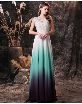 Scoop Lace Bodice Ombre Chiffon Prom Dress QD19457