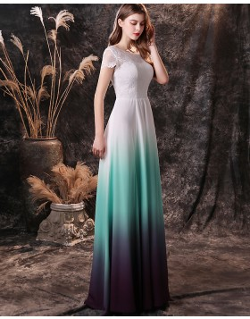 Bateau Neckline Ombre Lace Bodice Chiffon Prom Dress with Short Sleeves QD19458