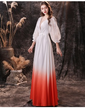 V-neck Lace Applique Satin Ombre Prom Dress with Long Sleeves QD21452
