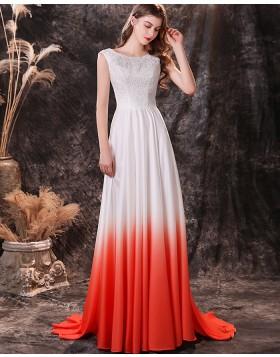 Jewel Neckline Ombre Lace Bodice Pleated Satin Prom Dress QD24451