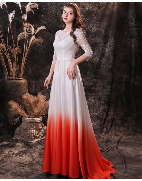Jewel Neckline Lace Applique Prom Dress with 3/4 Length Sleeves QD24453