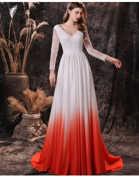 V-neck Lace Bodice Ombre Pleated Evening Dress with Long Sleeves QD24456