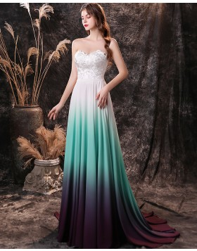 Sweetheart Lace Bodice Ombre Chiffon Prom Dress QD26459