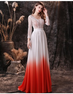 Scoop Lace Bodice Ombre Evening Dress with Long Sleeves QD27455