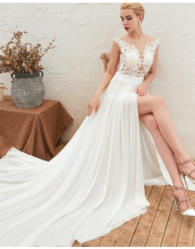 Jewel Lace Appliqued Bodice Pleated Wedding Dress with Side Slit QDWD001