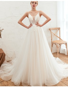 Spaghetti Straps Applique Beading A-line Pleated Wedding Dress QDWD005