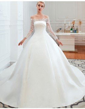 2e350e5e3073 -41% Off the Shoulder Lace Applique Satin Fall Wedding Dress with Long  Sleeves QDWD007 ...