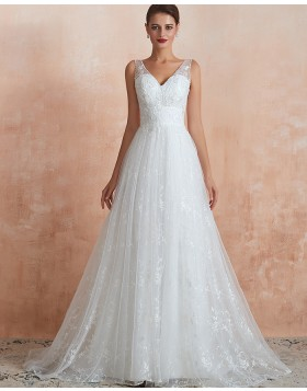 V-neck Lace Pleated White A-line Wedding Dress QDWD013