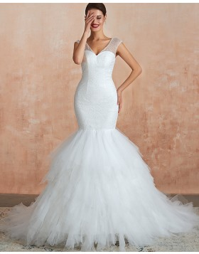 V-neck Sequin White Mermaid Ruffled Wedding Dress QDWD017