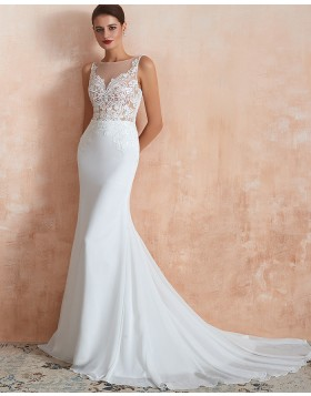 Jewel Lace Appliqued Mermaid White Wedding Dress QDWD018