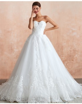 Strapless Lace Appliqued White A-line Wedding Dress QDWD020