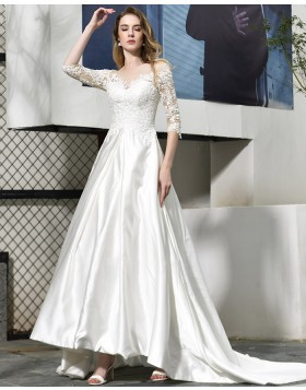 Bateau Neckline Satin White Appliqued Wedding Dress with Half Length Sleeves QDWD022