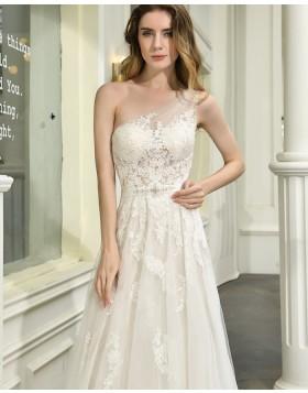 One Shoulder Ivory Lace Applique Tulle A-line Wedding Dress QDWD023