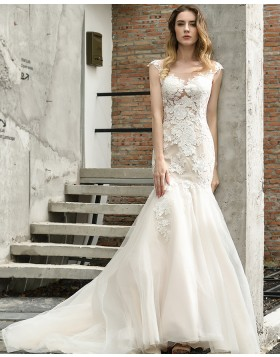 Scoop Neckline Lace Ivory Mermaid Tulle Wedding Dress QDWD024