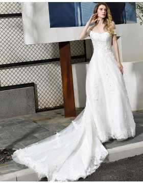 Off the Shoulder White Appliqued A-line Wedding Dress QDWD025
