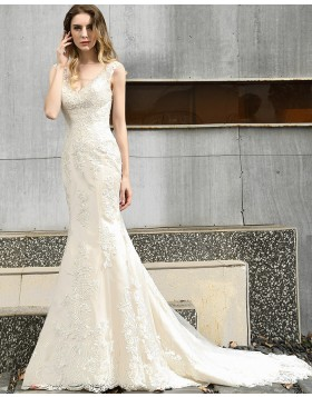 V-neck Champagne Beading Lace Mermaid Wedding Dress QDWD026
